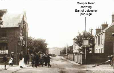 Cowper Road showing Earl of Leicester pub sign